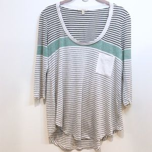 Bordeaux stiped pocked tee shirt Anthropologie